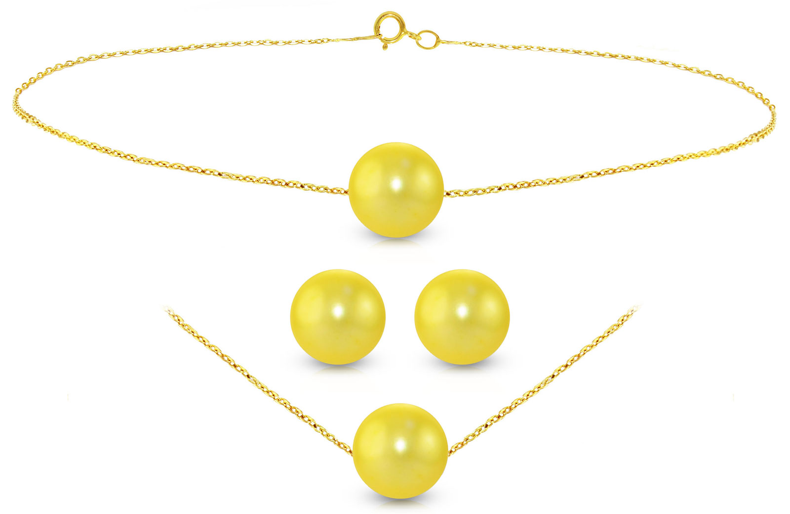 Vera Perla 18K Gold Simple 7mm Golden Pearl Jewelry Set, 3 Pieces