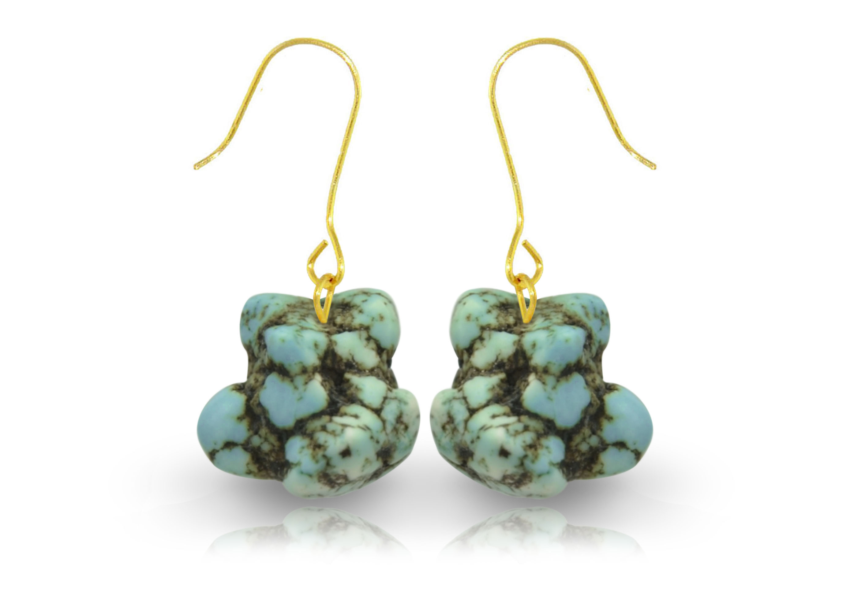 Vera Perla 18K Gold Turquoise Nugget Earrings