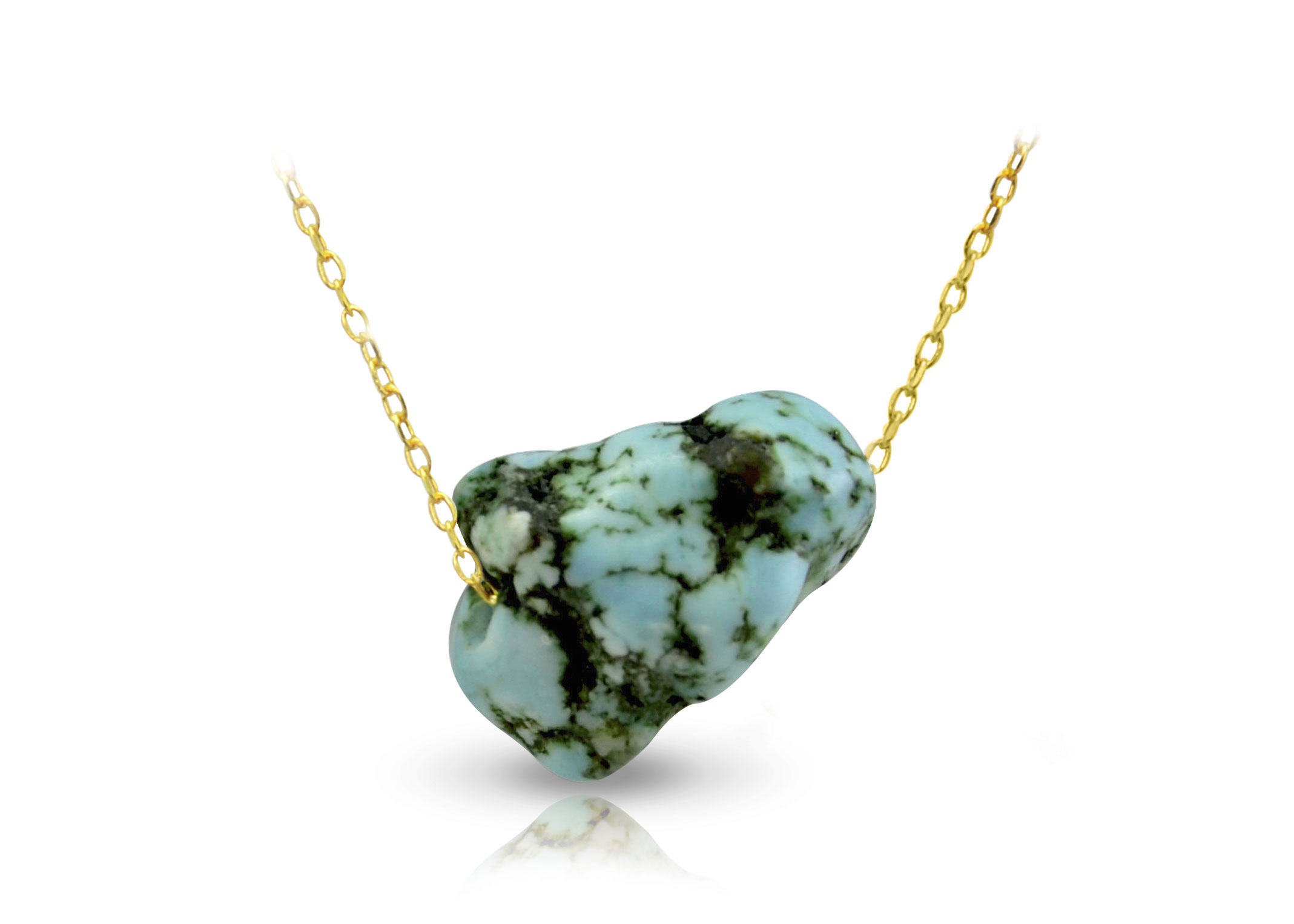 Vera Perla 18K Gold Turquoise Nugget Necklace