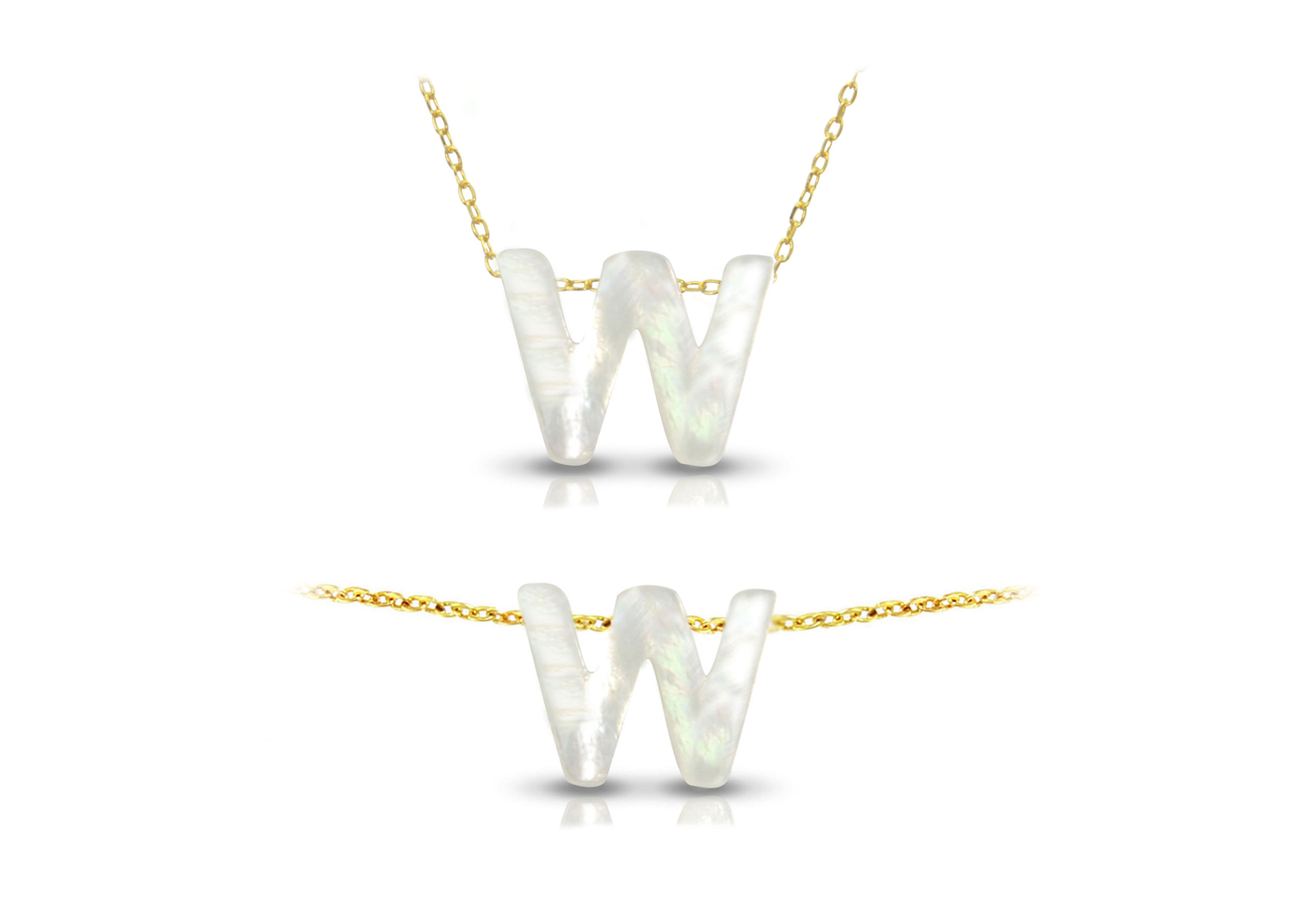 Vera Perla 18K Gold W Letter  Mother of Pearl Jewelry Set