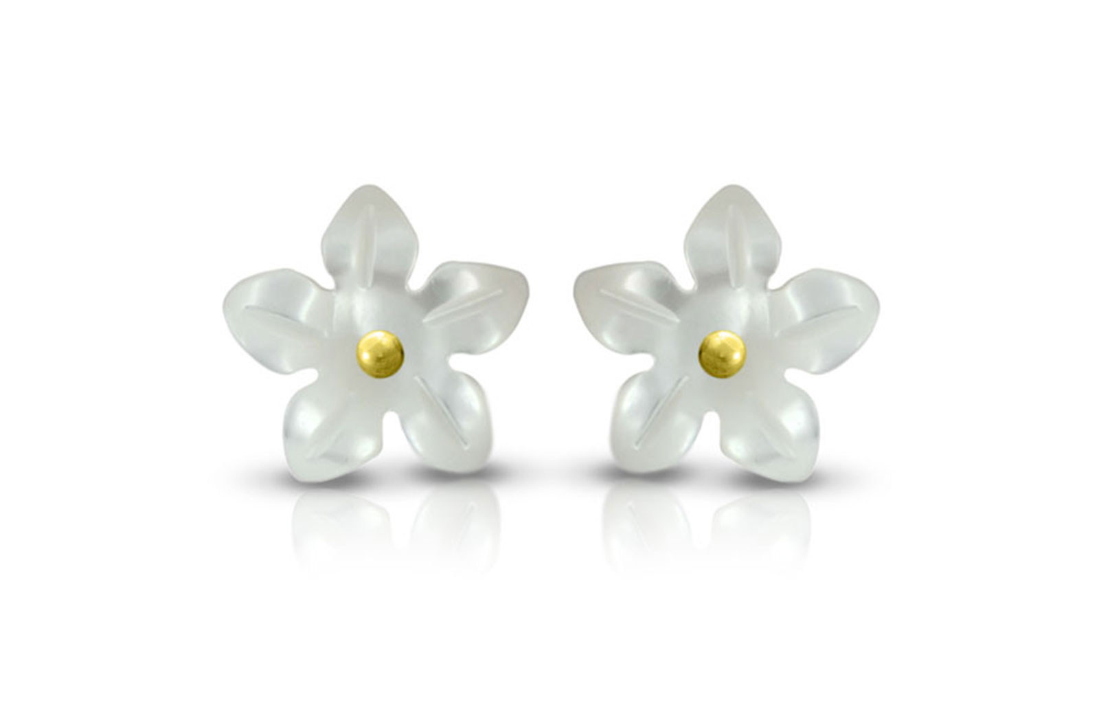 Vera Perla 18K Gold with Pearl Flower Shell Screw Back Earrings