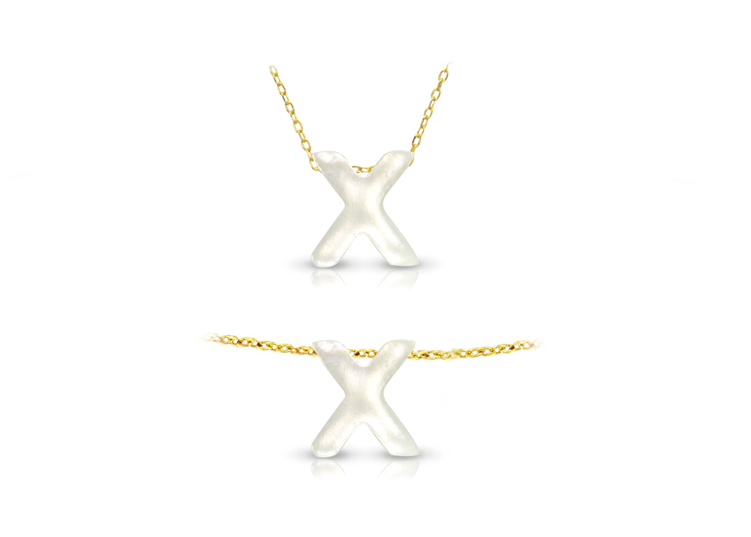 Vera Perla 18K Gold X Letter  Mother of Pearl Jewelry Set