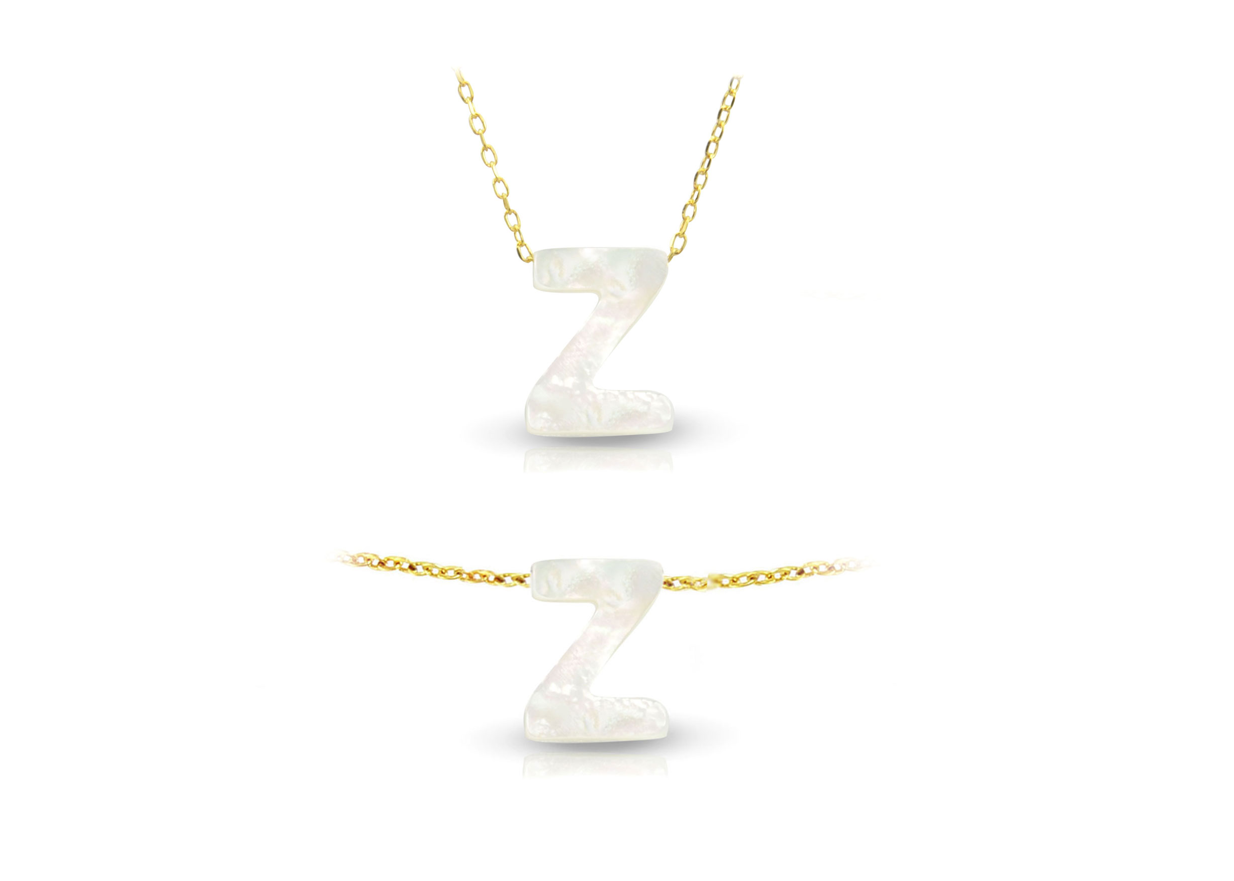 Vera Perla 18K Gold Z Letter  Mother of Pearl Jewelry Set