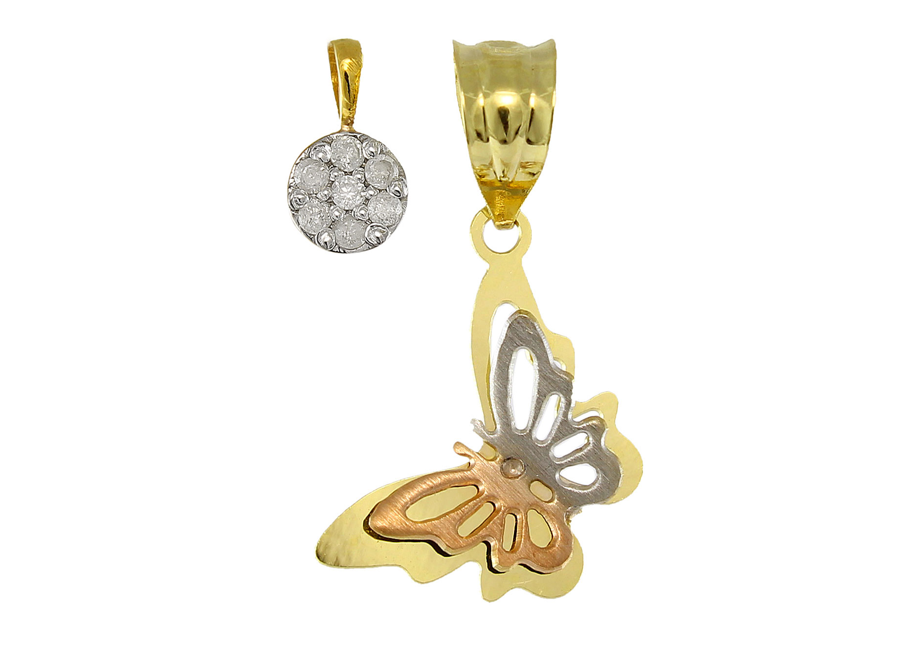 Vera Perla 18K Solid Gold 0.07Cts Genuine Diamonds Butterfly and Solitaire Pendants