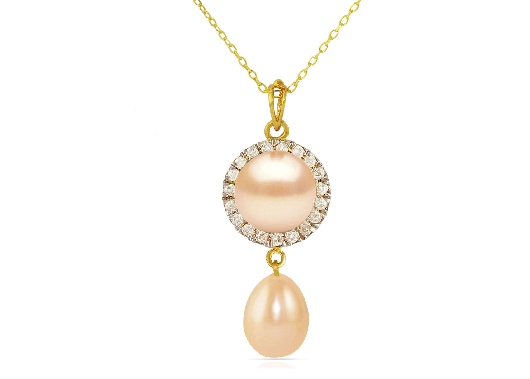 Vera Perla 18K Solid Gold 0.10ct Genuine Diamonds and 6-7 mm Pink Pearl Necklace