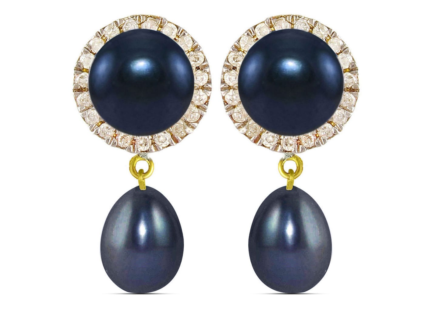 Vera Perla 18K Solid Gold 0.20ct Genuine Diamonds and 6-7 mm Black Pearl Earrings