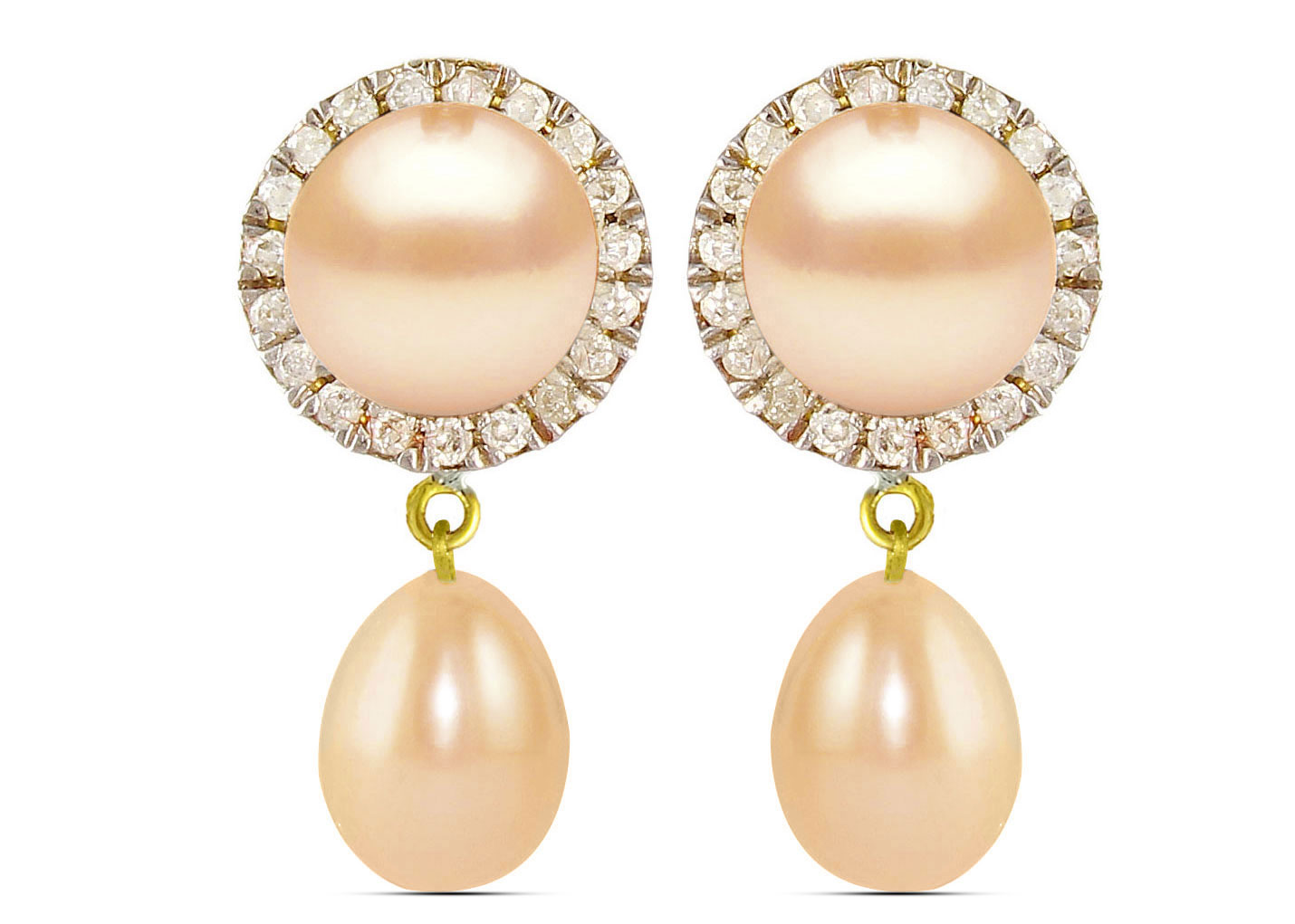 Vera Perla 18K Solid Gold 0.20ct Genuine Diamonds and 6-7 mm Pink Pearl Earrings