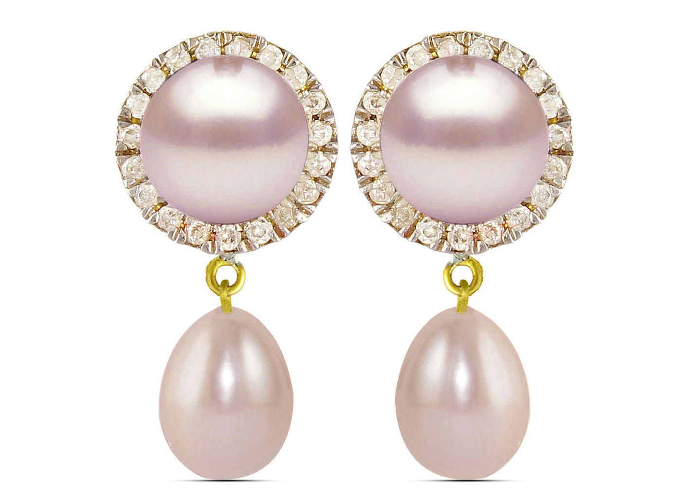 Vera Perla 18K Solid Gold 0.20ct Genuine Diamonds and 6-7 mm Purple Pearl Earrings