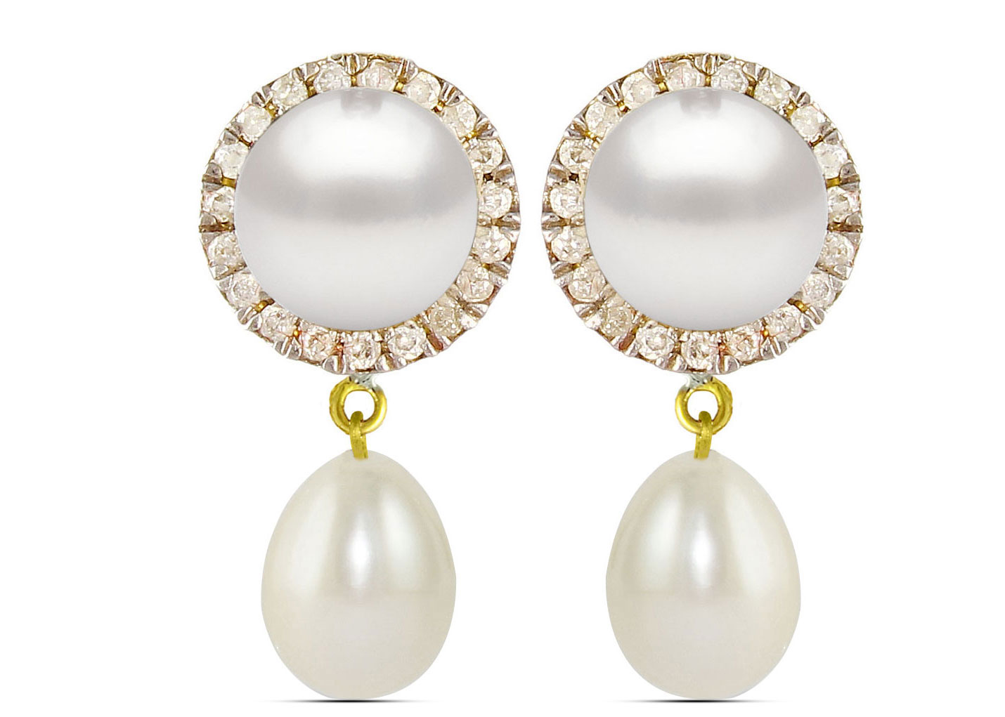 Vera Perla 18K Solid Gold 0.20ct Genuine Diamonds and 6-7 mm White Pearl Earrings