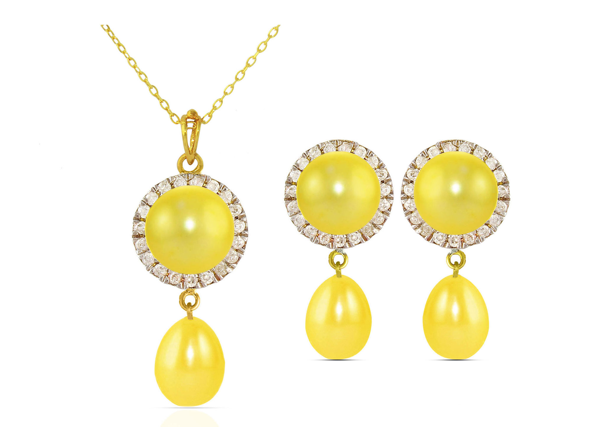 Vera Perla 18K Solid Gold 0.30ct Genuine Diamonds and 6-7mm Golden Pearl Jewelry Set, 2 Pcs