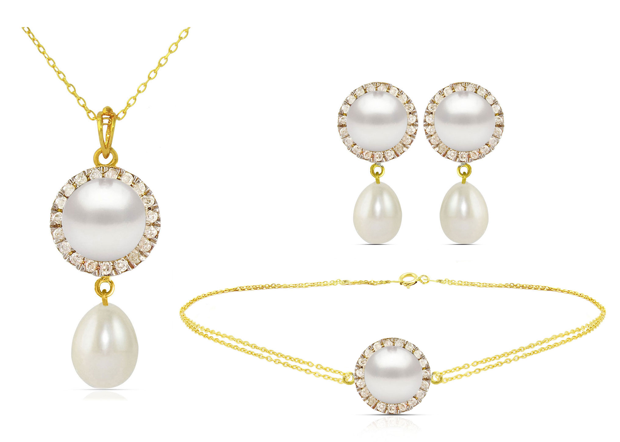 Vera Perla 18K Solid Gold 0.40ct Genuine Diamonds and 6-7mm White Pearl Jewelry Set,  3 Pcs