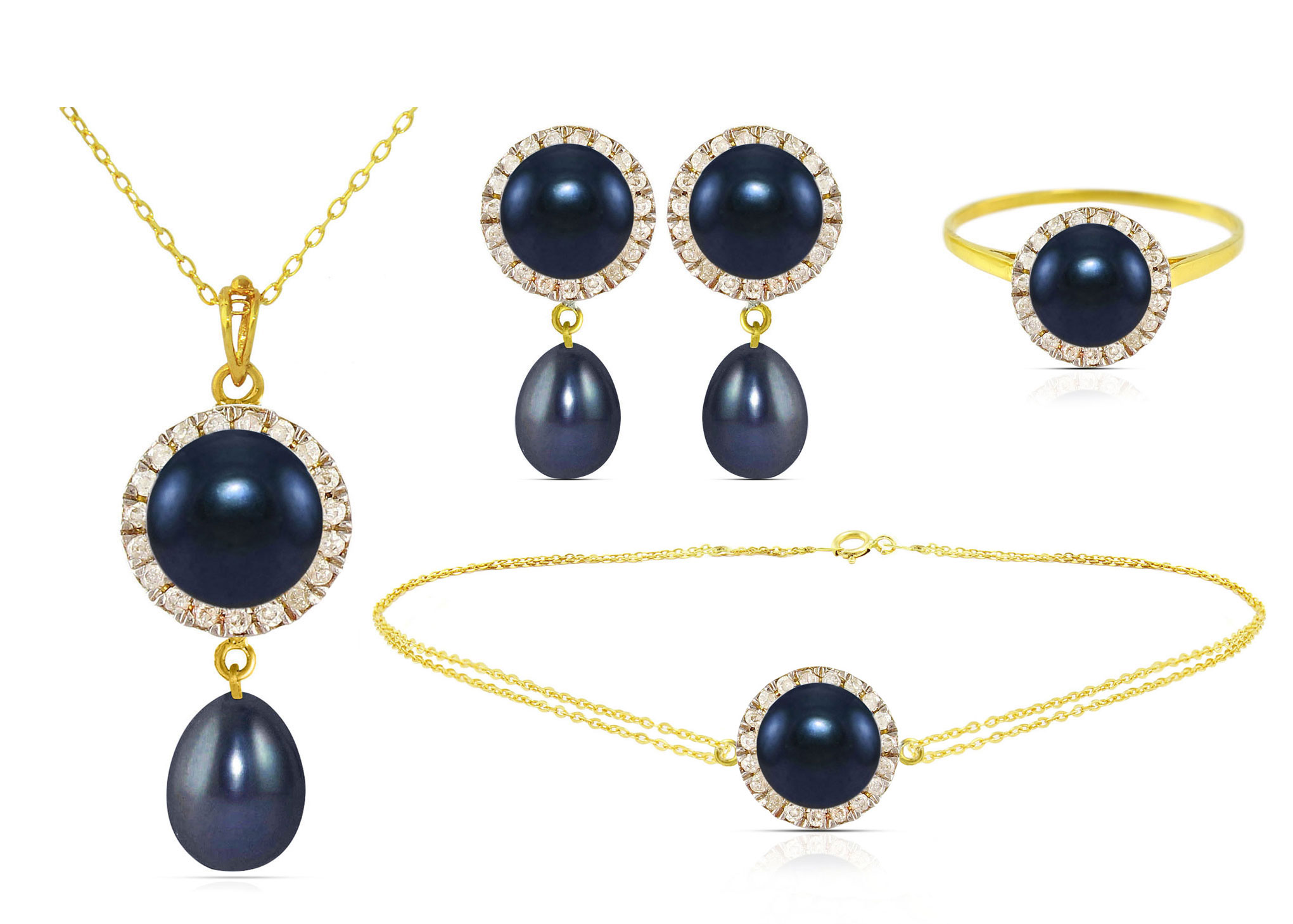 Vera Perla 18K Solid Gold 0.50ct Genuine Diamonds and 6-7mm Black Pearl Jewelry Set,  4 Pcs