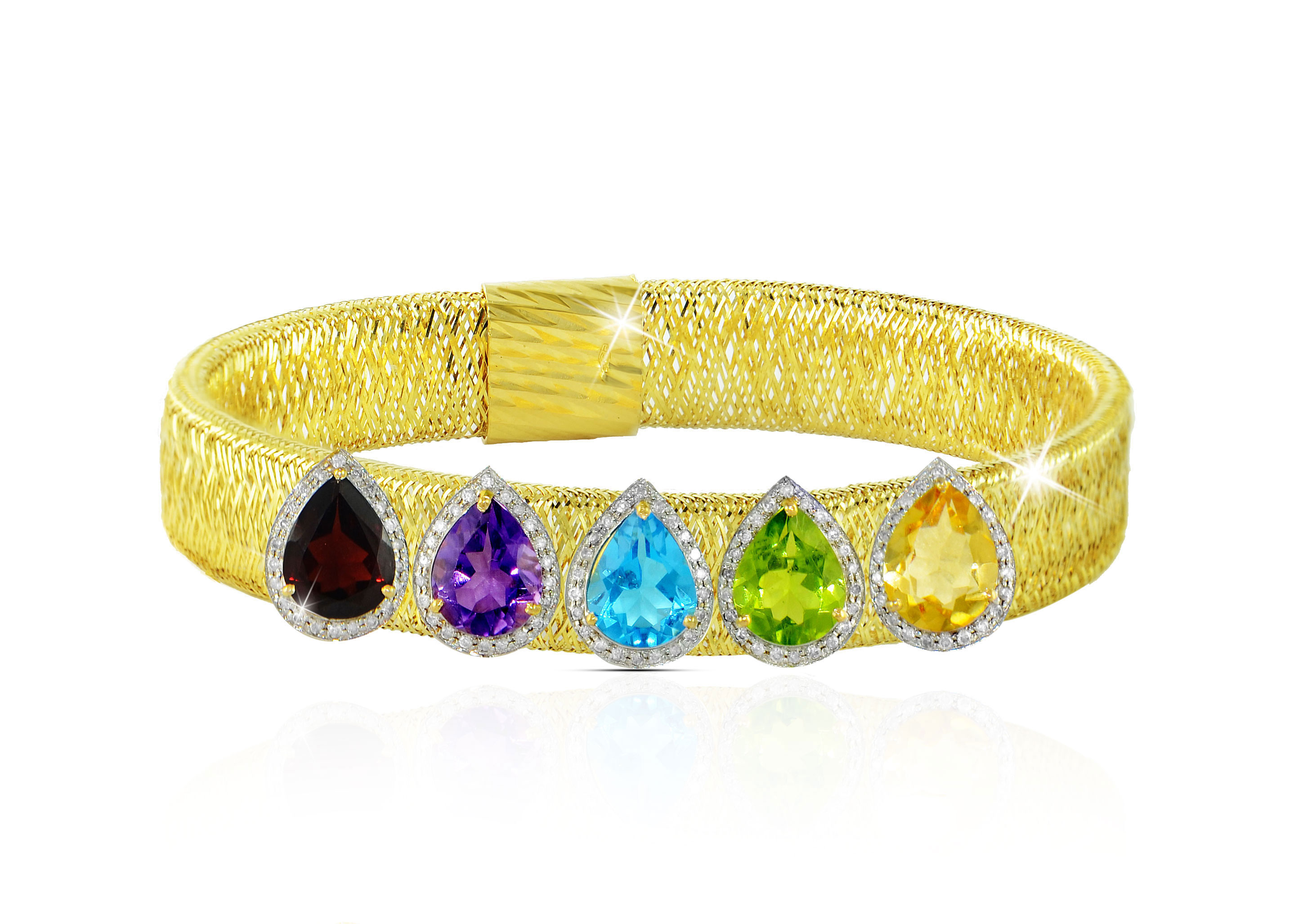 Vera Perla 18k Solid Gold 0.64Ct Genuine Diamonds and Multi-Gemstones Mesh Bracelet