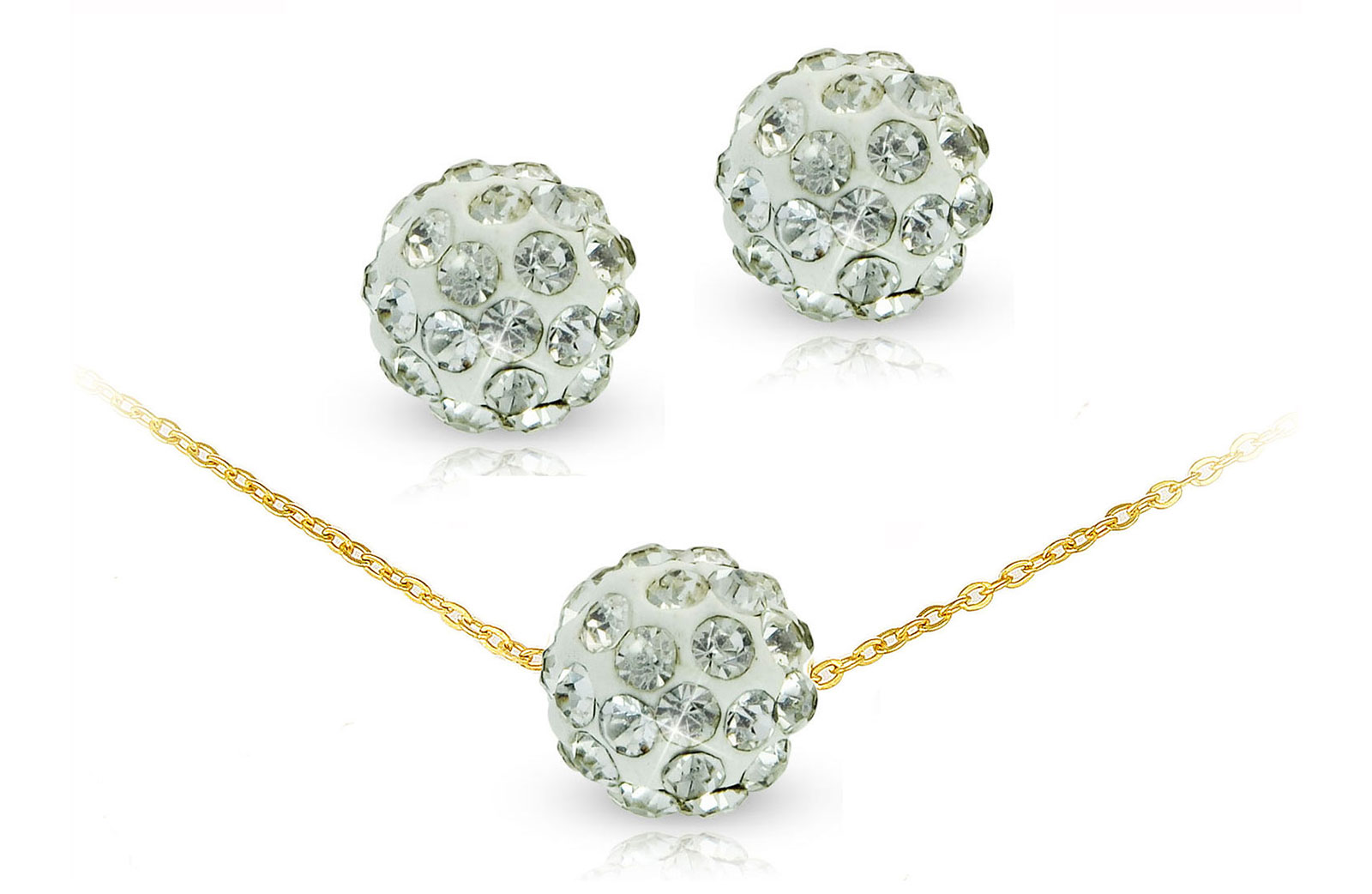 Vera Perla 18k Solid Gold 10mm Simple Crystal Ball Necklace & Earrings