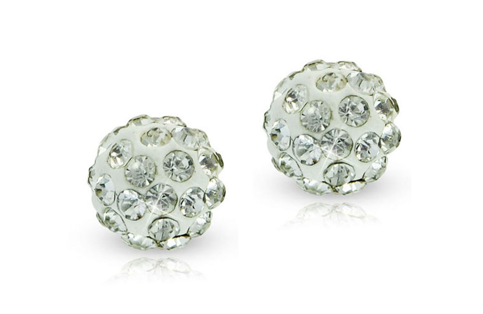 Vera Perla 18k Solid Gold 6mm Simple Crystal Ball Earrings