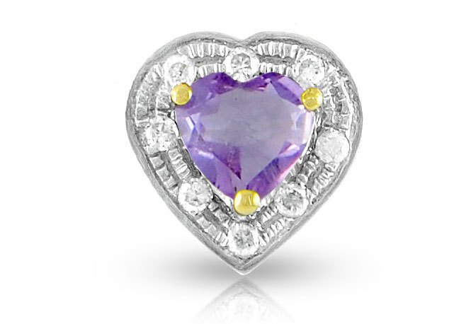 Vera Perla 18K Solid Gold and 0.08Cts Diamonds and 5mm Genuine Amethyst Heart Pendant