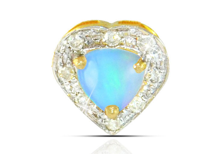 Vera Perla 18K Solid Gold and 0.08Cts Diamonds and 5mm Genuine Ethiopian Opal Heart Pendant