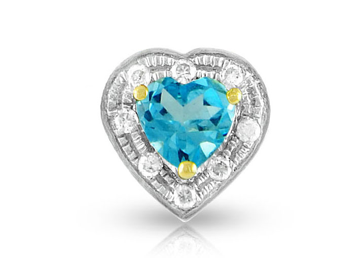 Vera Perla 18K Solid Gold and 0.08Cts Diamonds and 5mm Genuine Swiss Blue Topaz Heart   Pendant