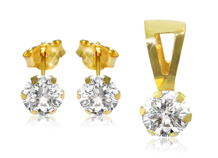 Vera Perla 18K Solid Gold and Cubic Zircon Solitaire Pendant and Earrings