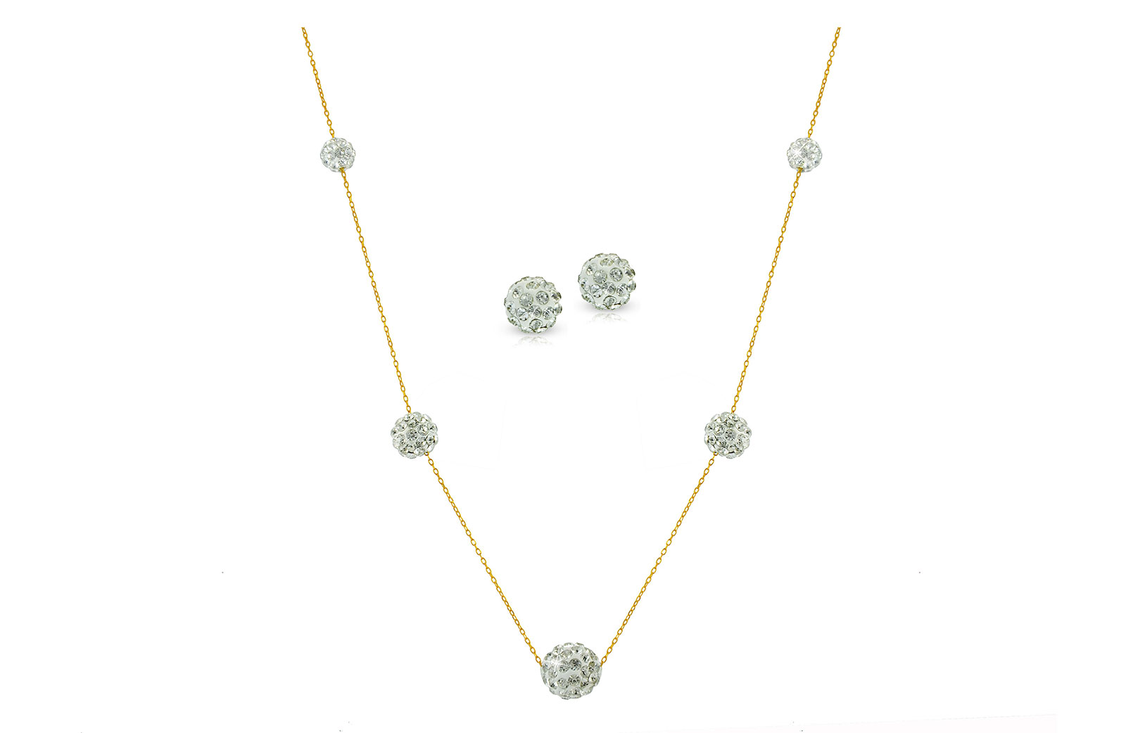 Vera Perla 18k Solid Gold Built-in Crystal Ball Necklace & Earrings