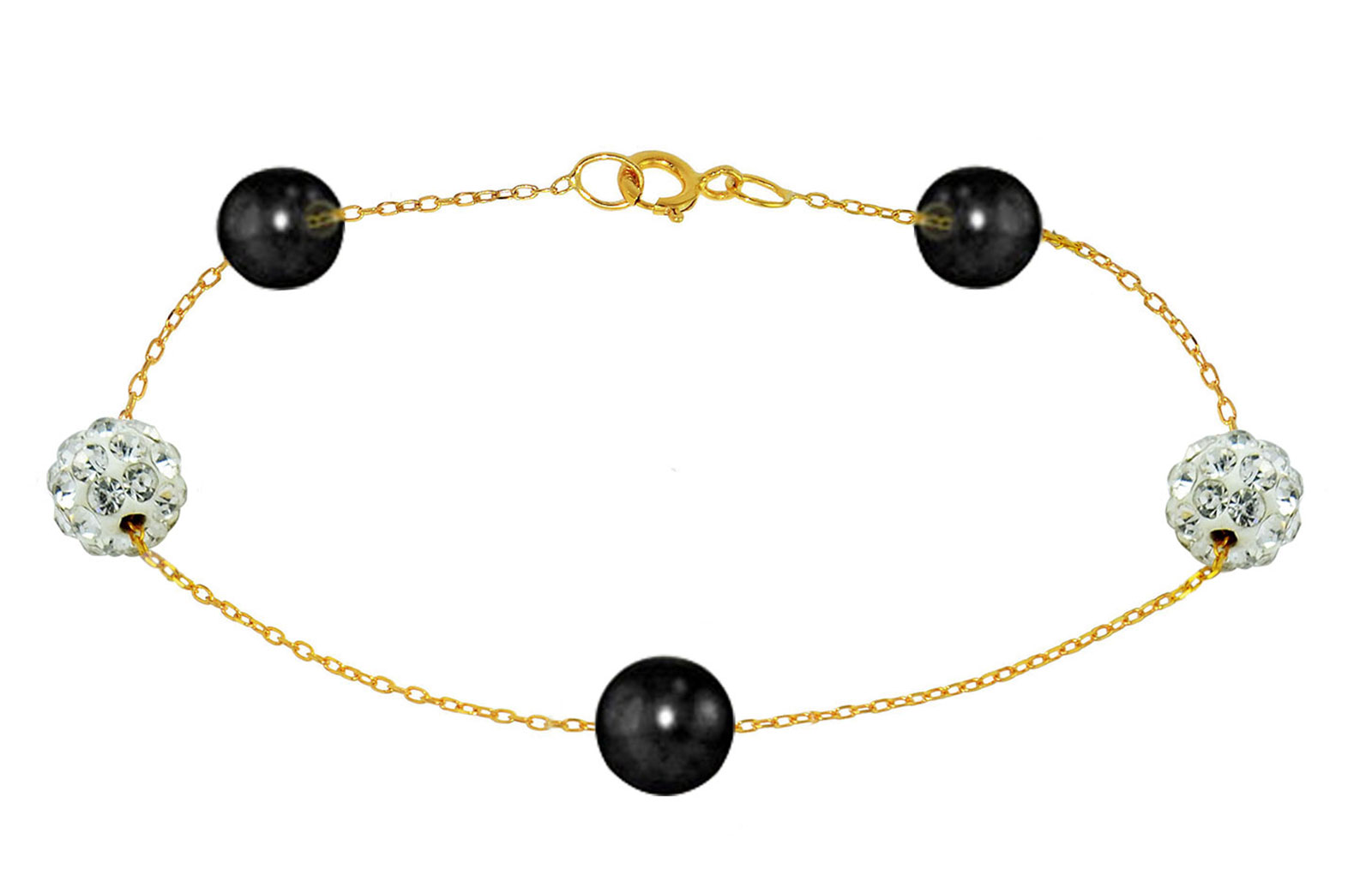 Vera Perla 18K Solid Gold Gradual Built-in 5-6mm Black Pearls and Crystal Ball Bracelet