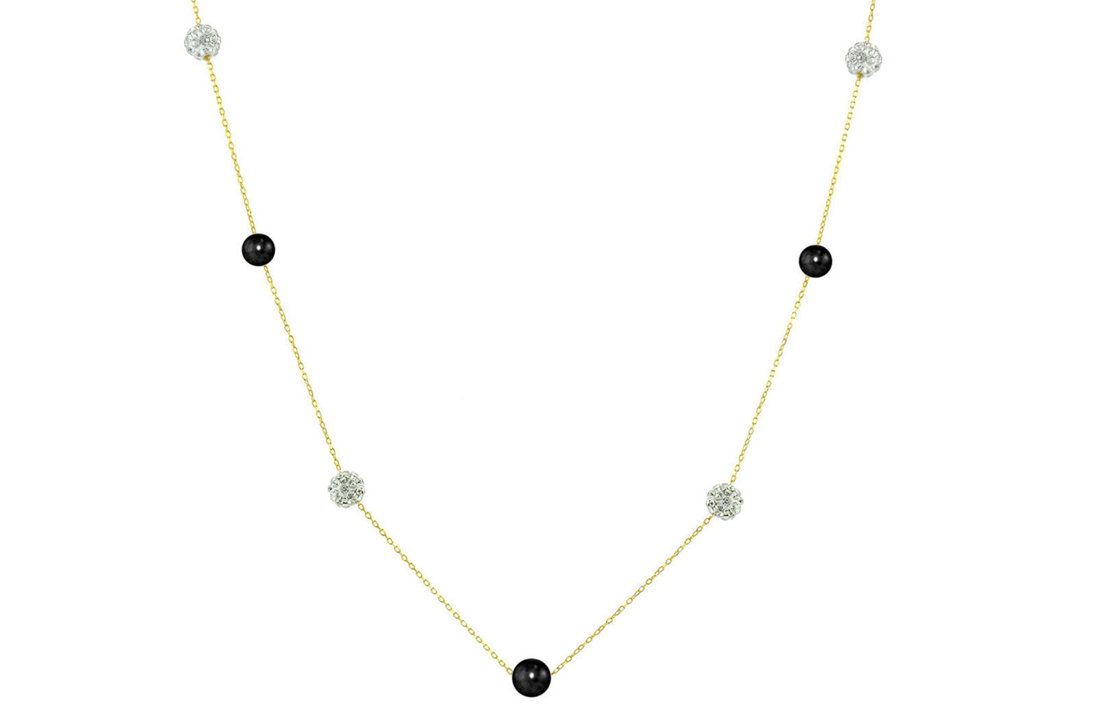 Vera Perla 18K Solid Gold Gradual Built-in 5-6mm Black Pearls and Crystal Ball Necklace