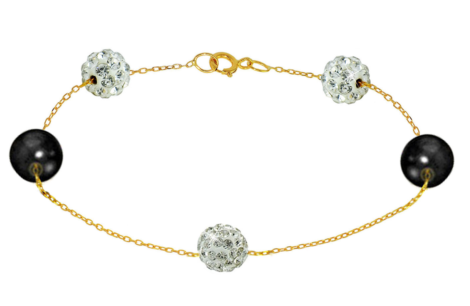Vera Perla 18K Solid Gold Gradual Built-in 5-6mm Crystal Ball and Black Pearls Bracelet