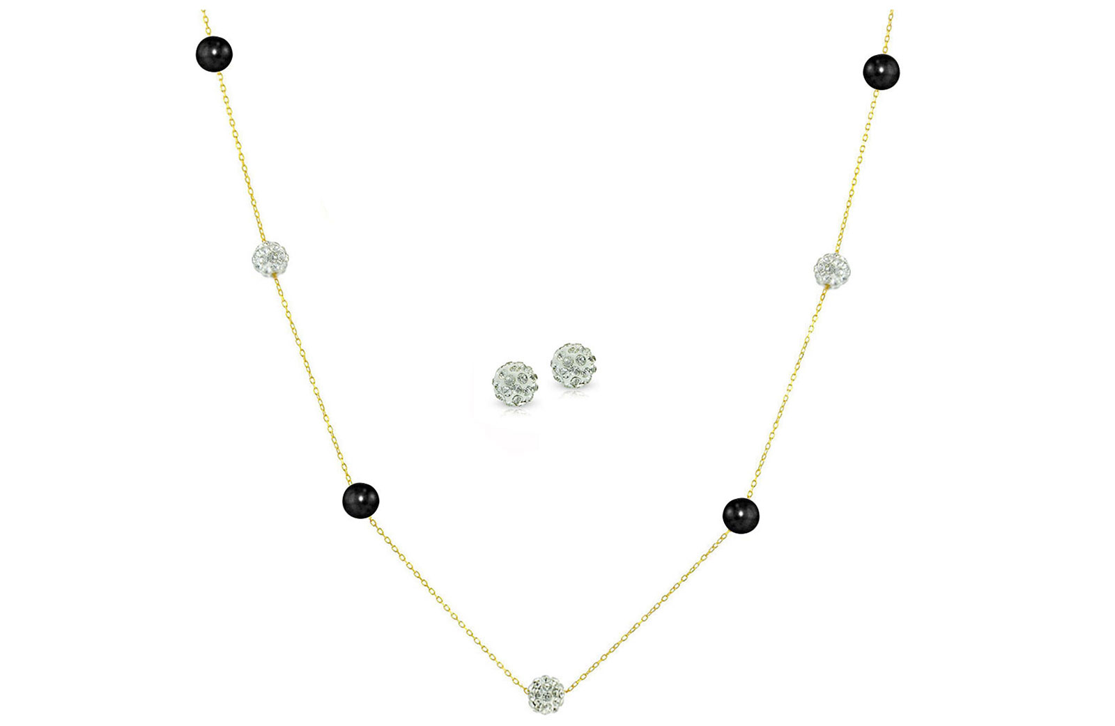 Vera Perla 18K Solid Gold Gradual Built-in 5-6mm Crystal Ball and Black Pearls Jewelry Set - 2 pcs.