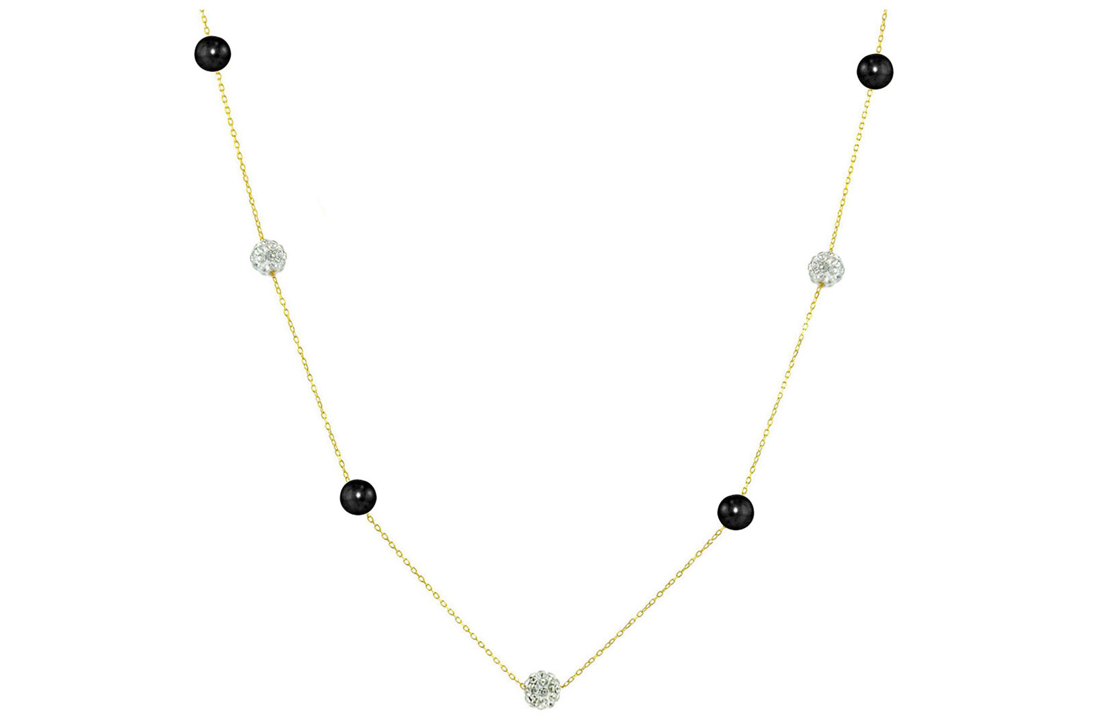 Vera Perla 18K Solid Gold Gradual Built-in 5-6mm Crystal Ball and Black Pearls Necklace