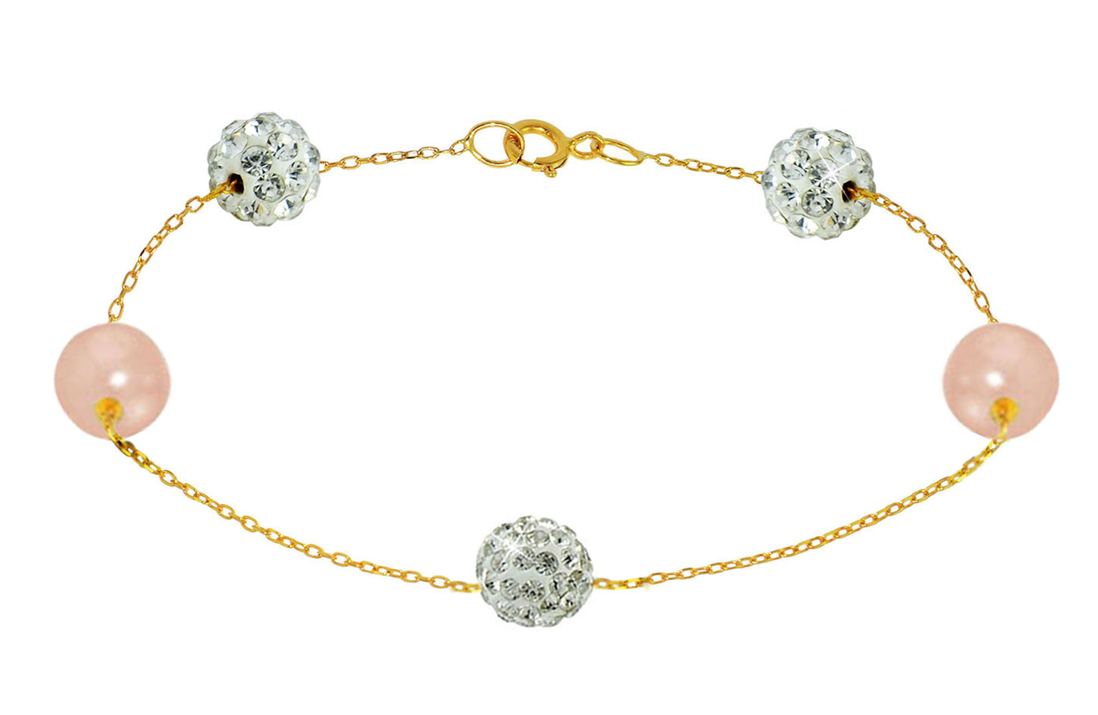 Vera Perla 18K Solid Gold Gradual Built-in 5-6mm Crystal Ball and Pink Pearls Bracelet