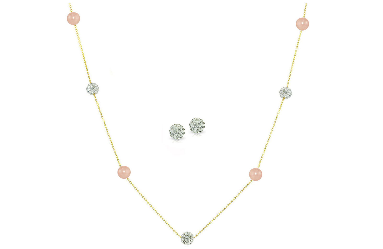 Vera Perla 18K Solid Gold Gradual Built-in 5-6mm Crystal Ball and Pink Pearls Jewelry Set - 2 pcs.