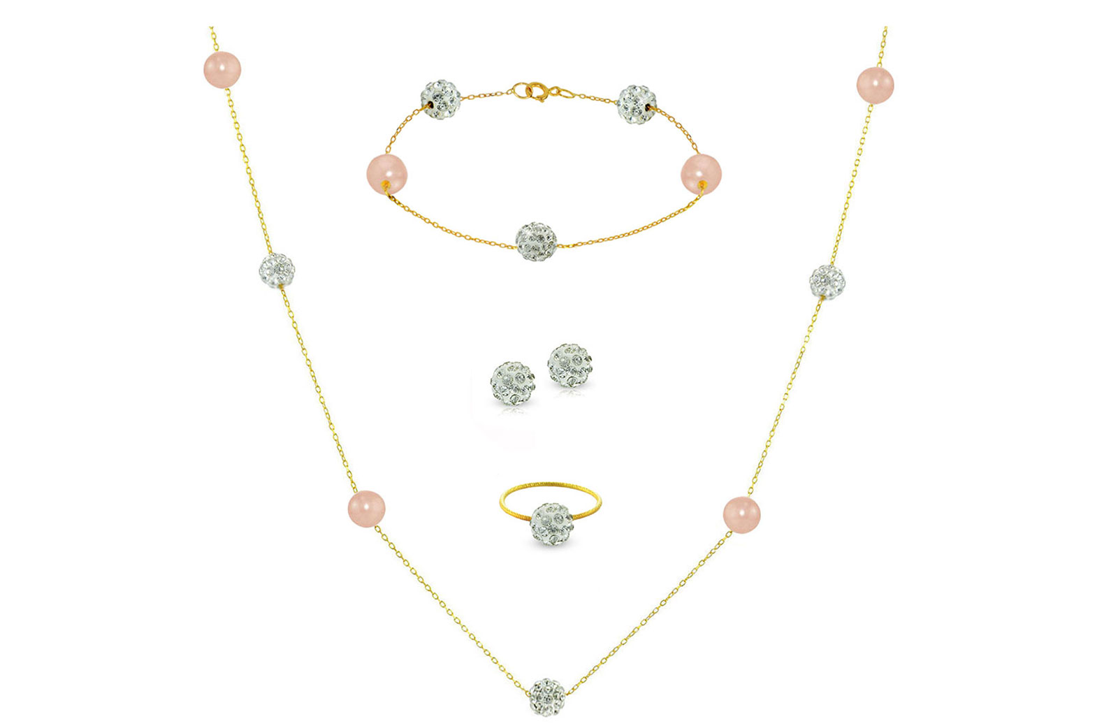 Vera Perla 18K Solid Gold Gradual Built-in 5-6mm Crystal Ball and Pink Pearls Jewelry Set - 4 pcs.