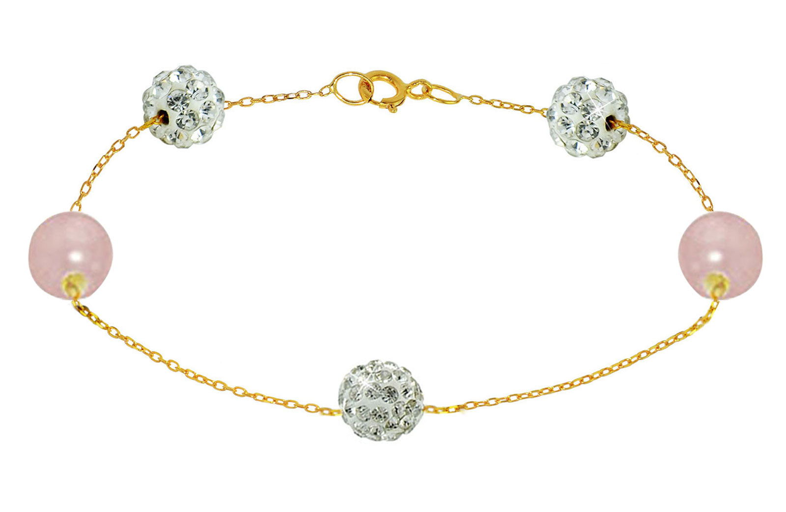 Vera Perla 18K Solid Gold Gradual Built-in 5-6mm Crystal Ball and Purple Pearls Bracelet