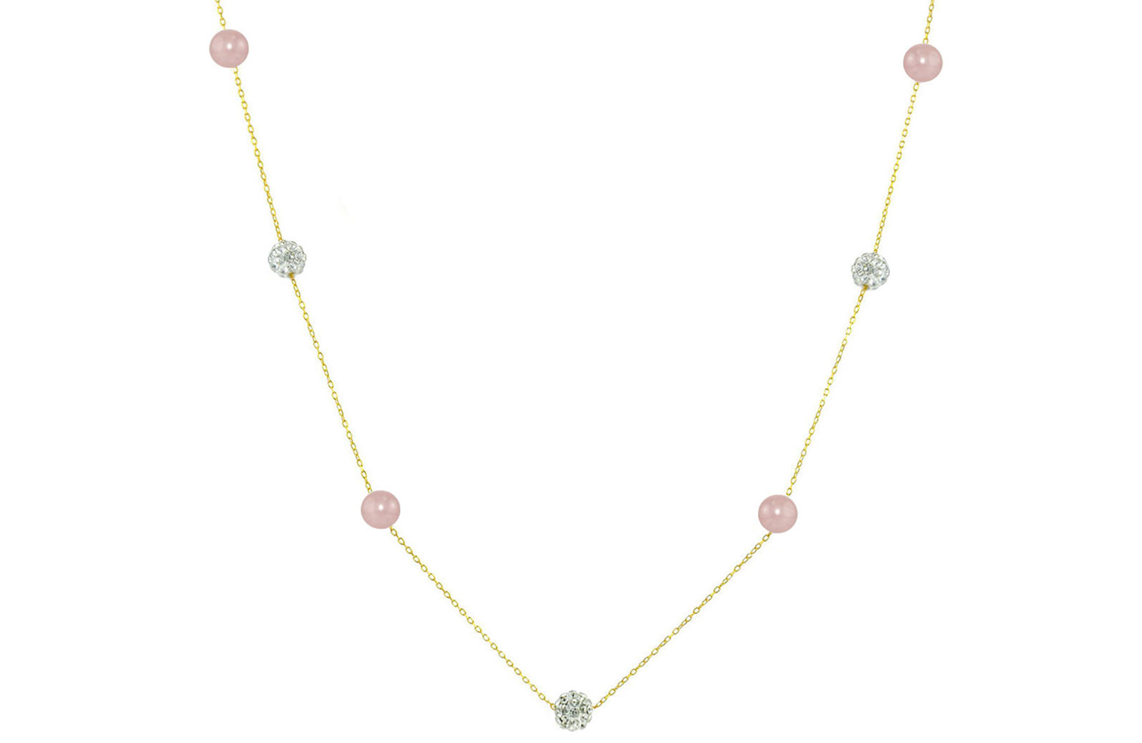 Vera Perla 18K Solid Gold Gradual Built-in 5-6mm Crystal Ball and Purple Pearls Necklace