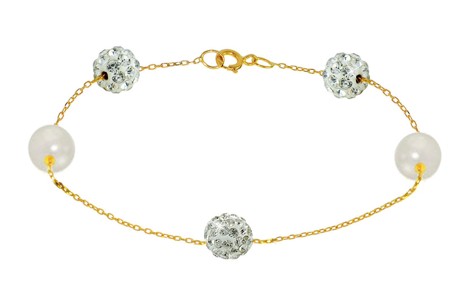 Vera Perla 18K Solid Gold Gradual Built-in 5-6mm Crystal Ball and White Pearls Bracelet