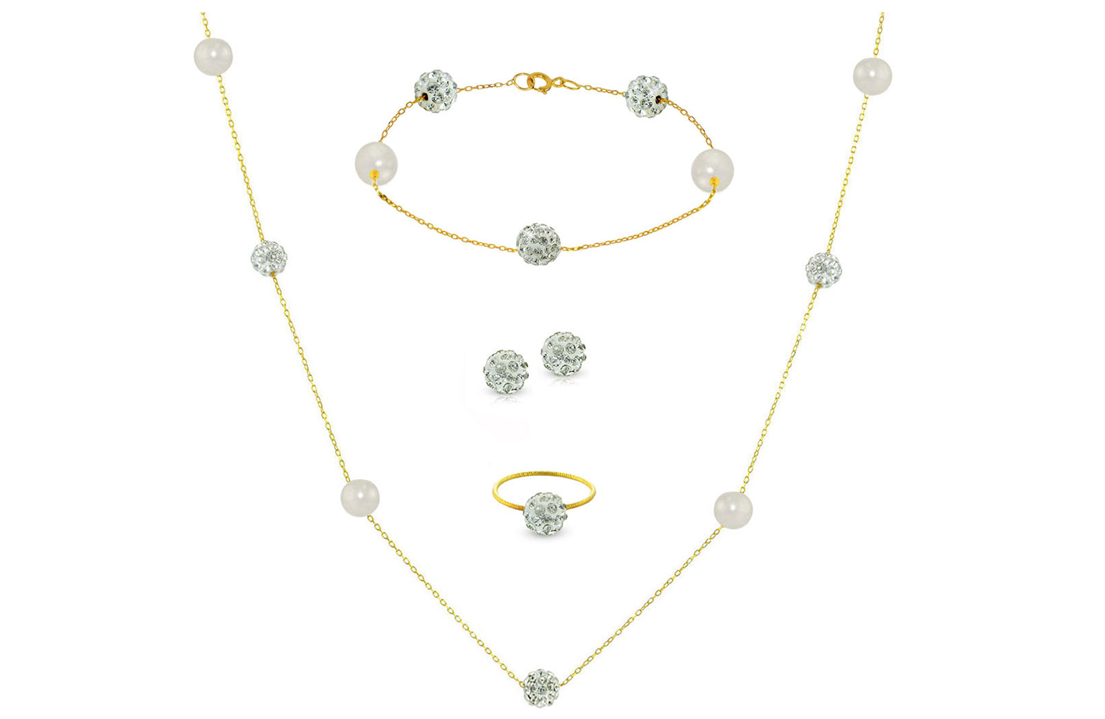 Vera Perla 18K Solid Gold Gradual Built-in 5-6mm Crystal Ball and White Pearls Jewelry Set - 4 pcs.