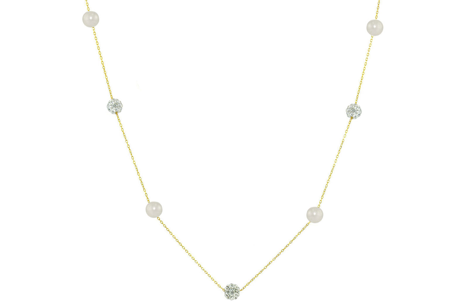 Vera Perla 18K Solid Gold Gradual Built-in 5-6mm Crystal Ball and White Pearls Necklace