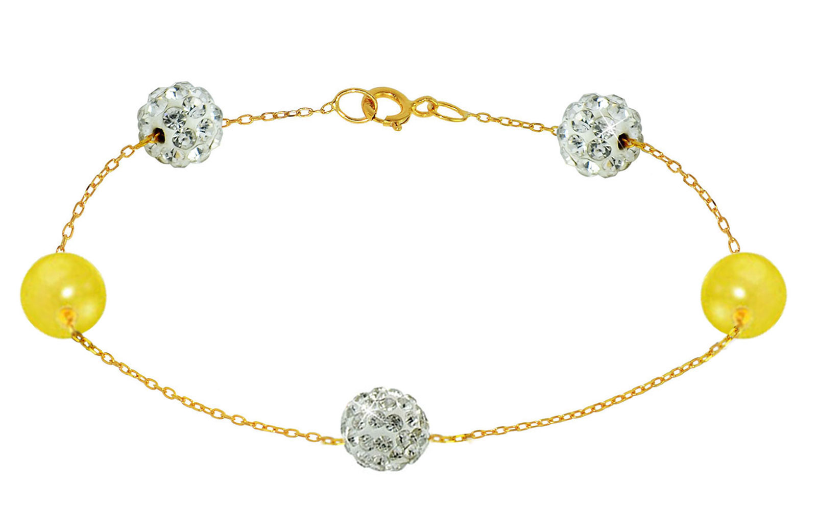 Vera Perla 18K Solid Gold Gradual Built-in 5-6mm Crystal Ball and Yellow Pearls Bracelet