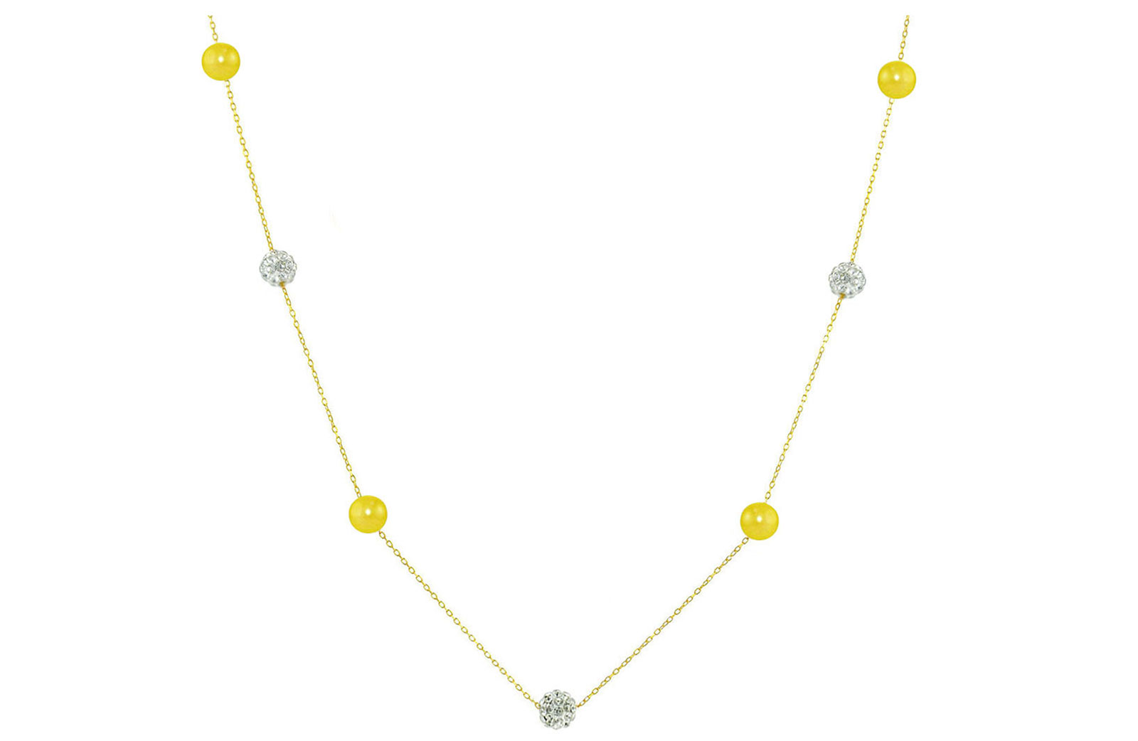 Vera Perla 18K Solid Gold Gradual Built-in 5-6mm Crystal Ball and Yellow Pearls Necklace