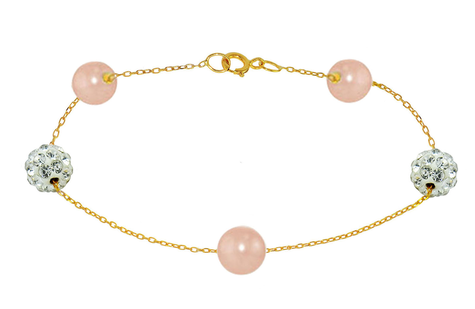 Vera Perla 18K Solid Gold Gradual Built-in 5-6mm Pink Pearls and Crystal Ball Bracelet