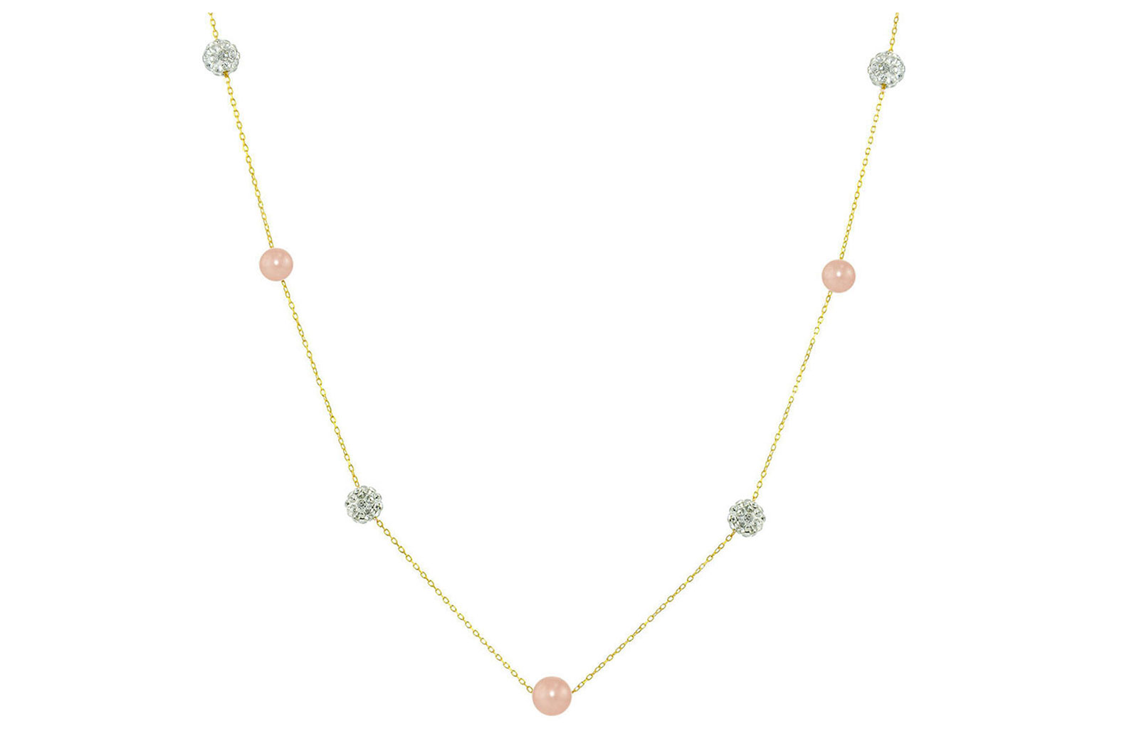 Vera Perla 18K Solid Gold Gradual Built-in 5-6mm Pink Pearls and Crystal Ball Necklace