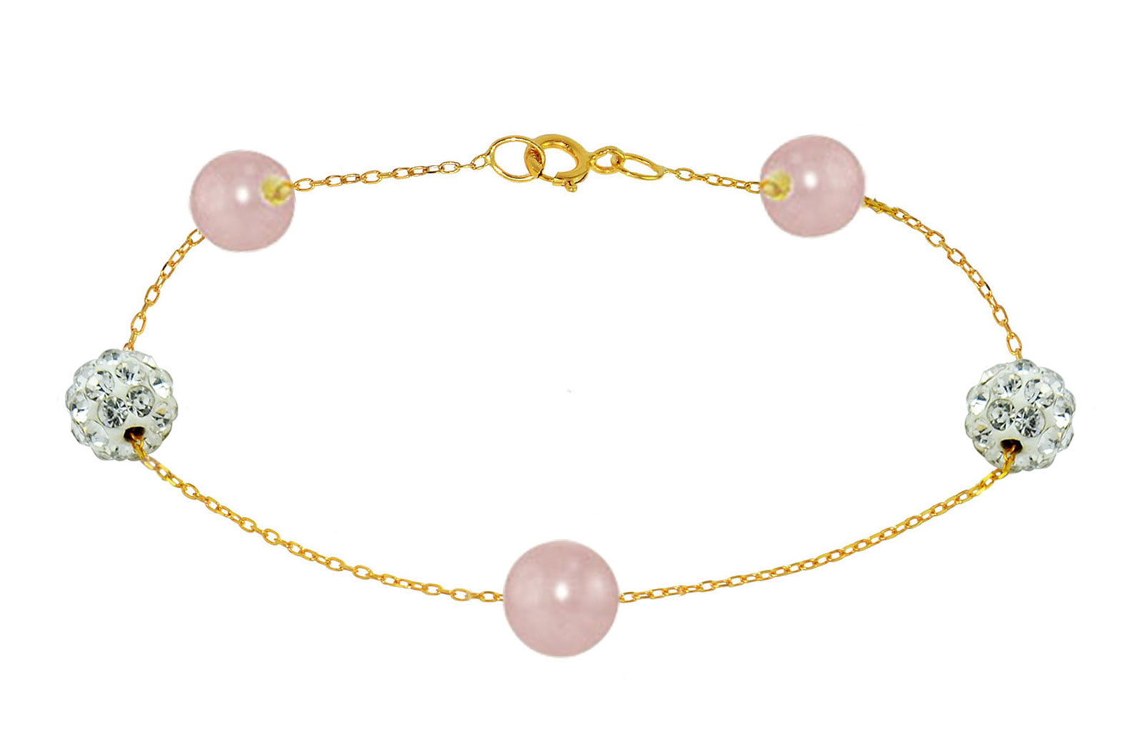 Vera Perla 18K Solid Gold Gradual Built-in 5-6mm Purple Pearls and Crystal Ball Bracelet