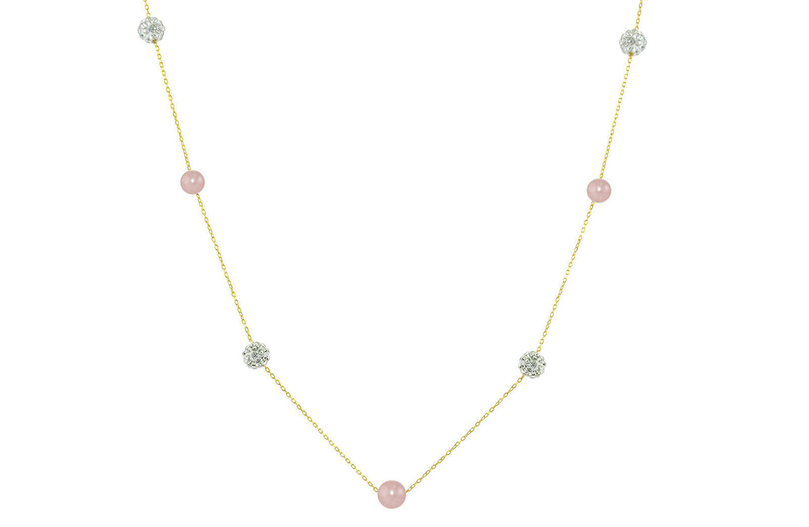 Vera Perla 18K Solid Gold Gradual Built-in 5-6mm Purple Pearls and Crystal Ball Necklace