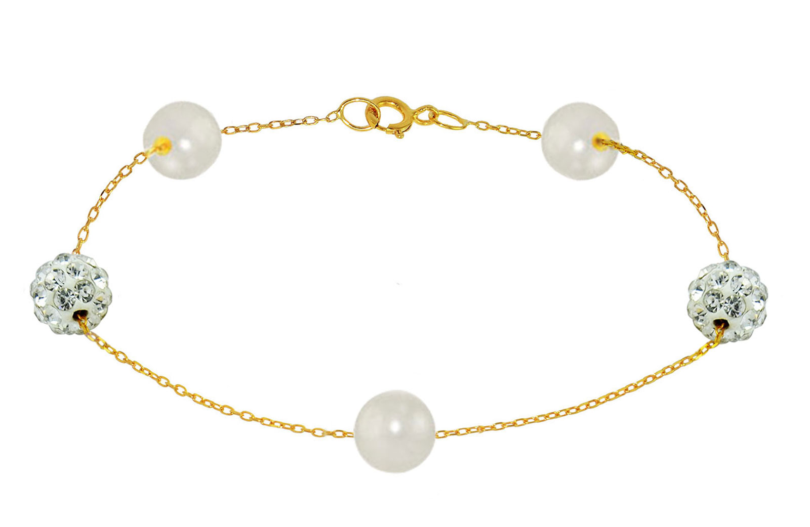 Vera Perla 18K Solid Gold Gradual Built-in 5-6mm White Pearls and Crystal Ball Bracelet