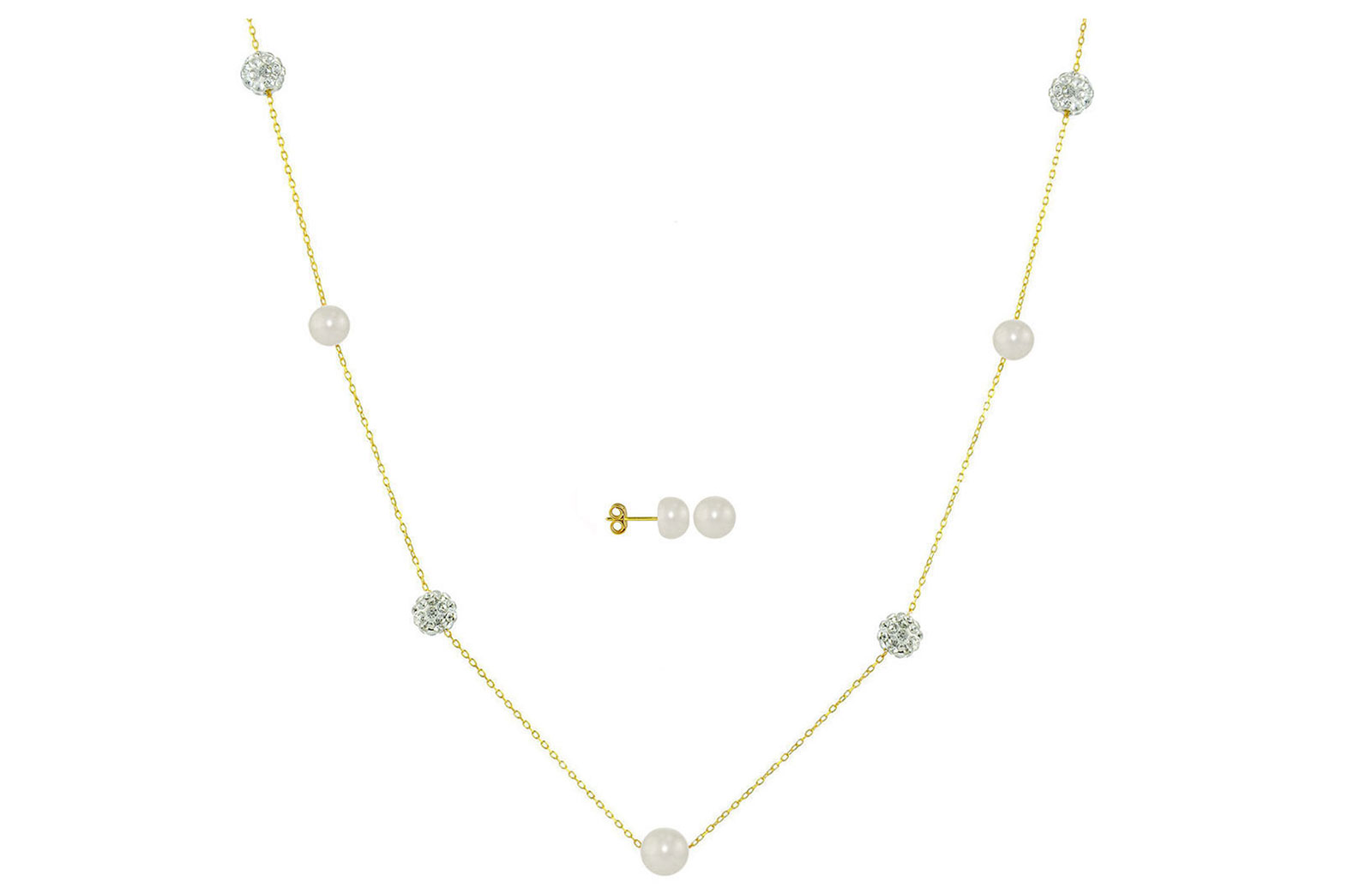 Vera Perla 18K Solid Gold Gradual Built-in 5-6mm White Pearls and Crystal Ball Jewelry Set - 2 pcs.