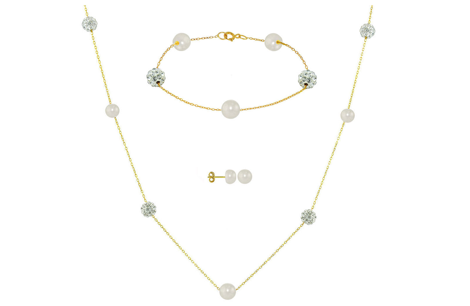 Vera Perla 18K Solid Gold Gradual Built-in 5-6mm White Pearls and Crystal Ball Jewelry Set - 3 pcs.