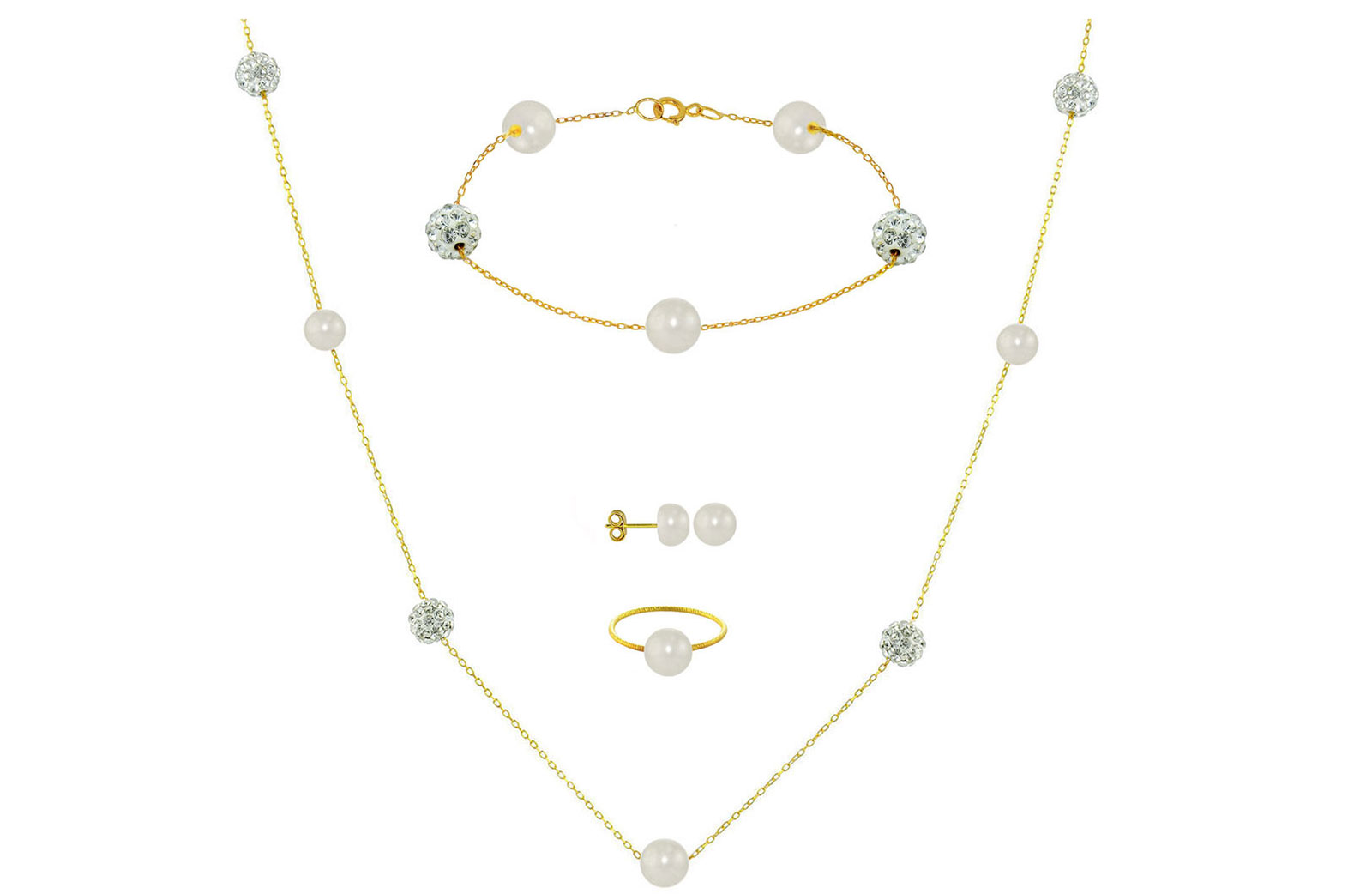 Vera Perla 18K Solid Gold Gradual Built-in 5-6mm White Pearls and Crystal Ball Jewelry Set - 4 pcs.