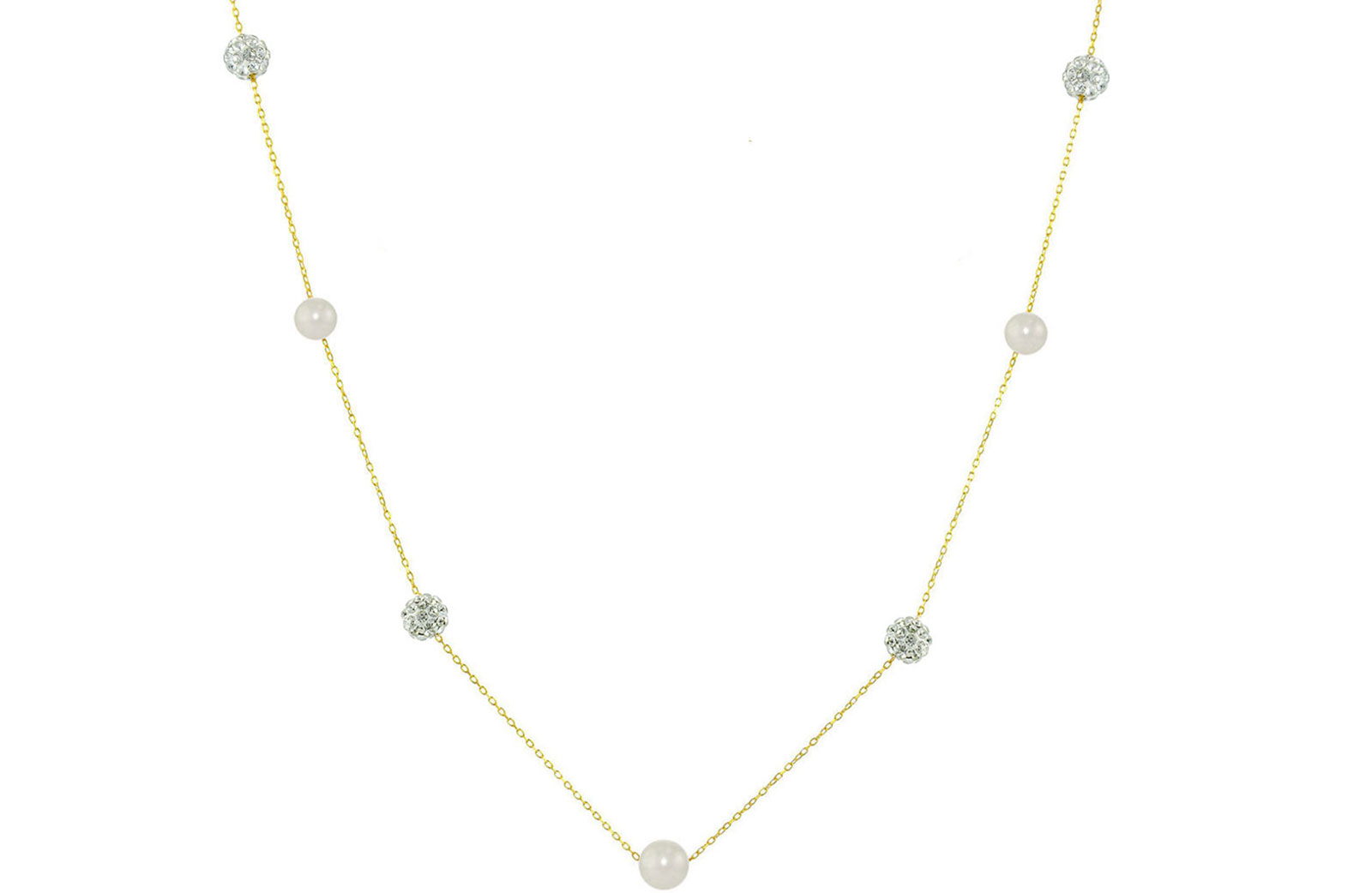 Vera Perla 18K Solid Gold Gradual Built-in 5-6mm White Pearls and Crystal Ball Necklace