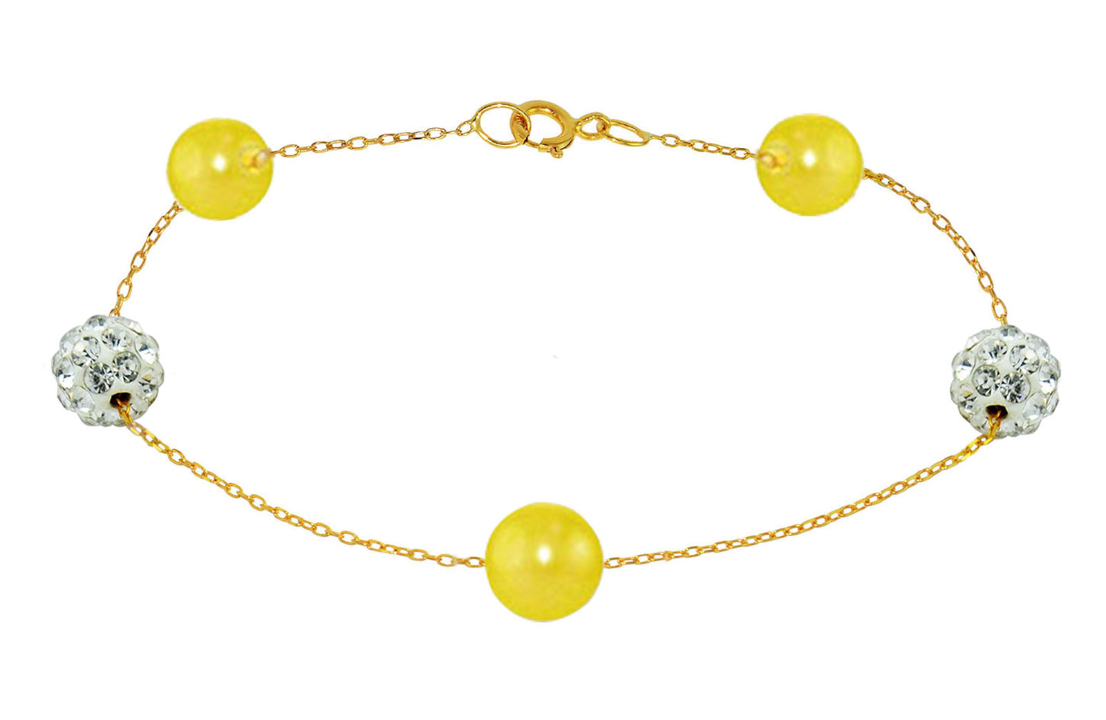 Vera Perla 18K Solid Gold Gradual Built-in 5-6mm Yellow Pearls and Crystal Ball Bracelet