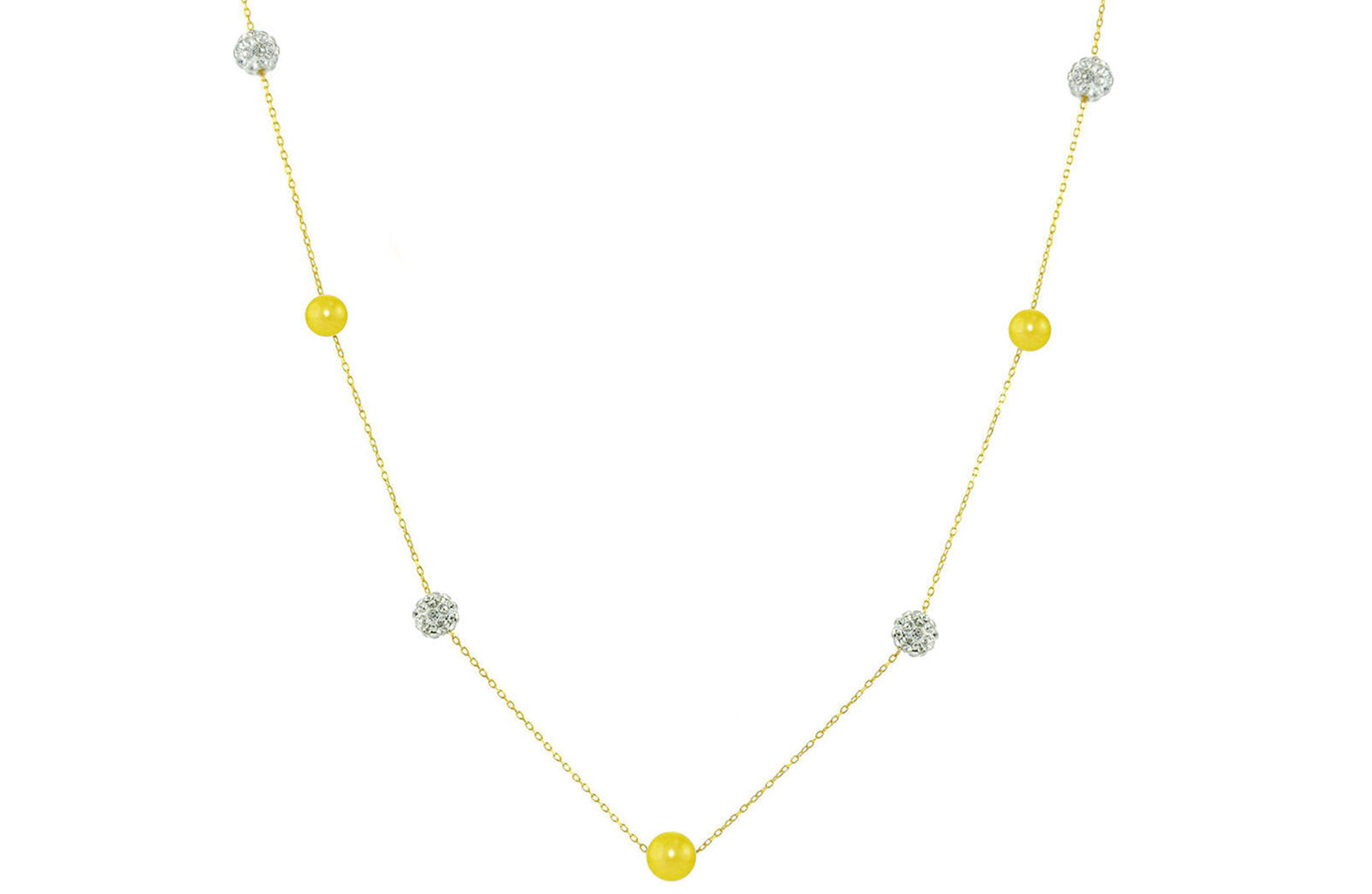 Vera Perla 18K Solid Gold Gradual Built-in 5-6mm Yellow Pearls and Crystal Ball Necklace